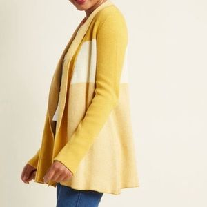 ModCloth Marigold Open Front Color Block Cardigan